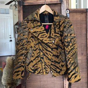 Tapestry tiger beaded motor jacket